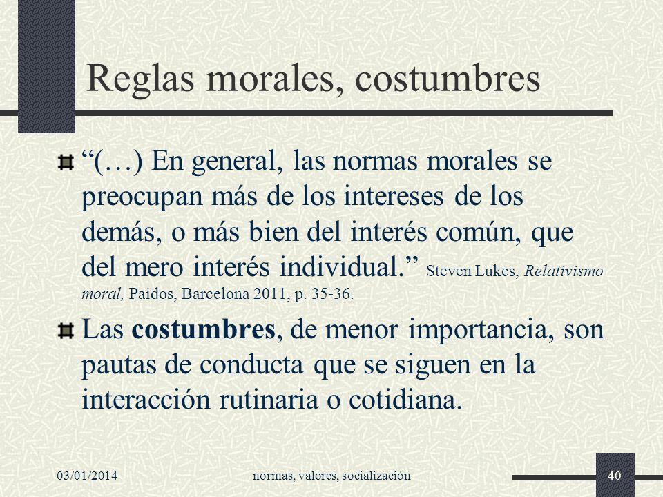 Reglas morales, costumbres