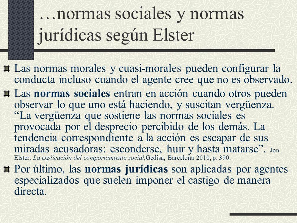 …normas sociales y normas jurídicas según Elster