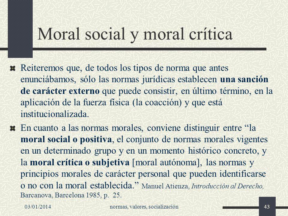 Moral social y moral crítica