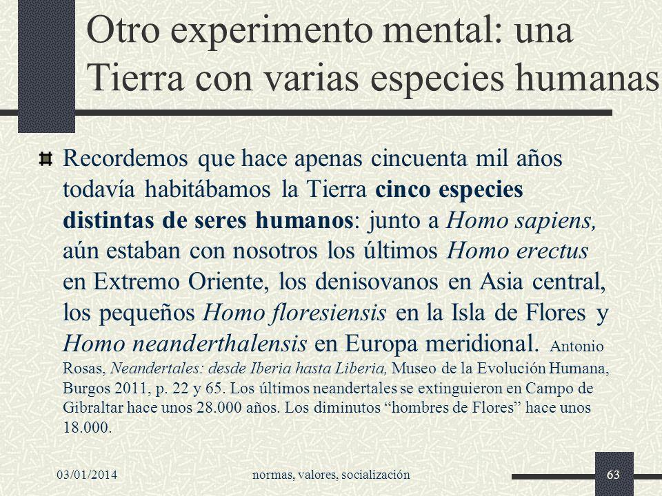 Otro experimento mental: una Tierra con varias especies humanas
