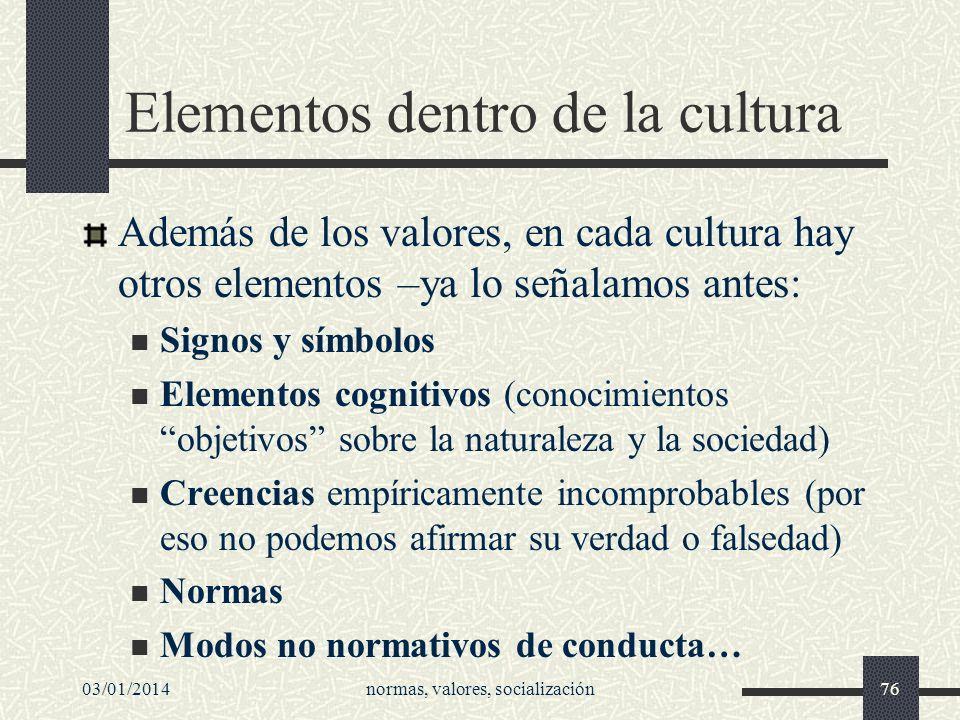 Elementos dentro de la cultura