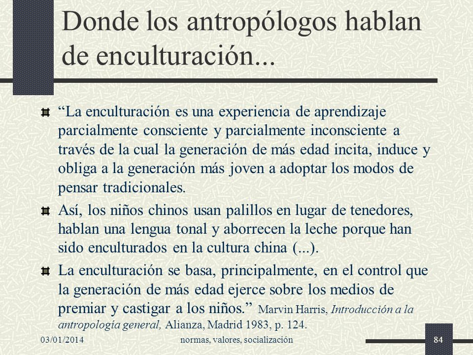 Donde los antropólogos hablan de enculturación...