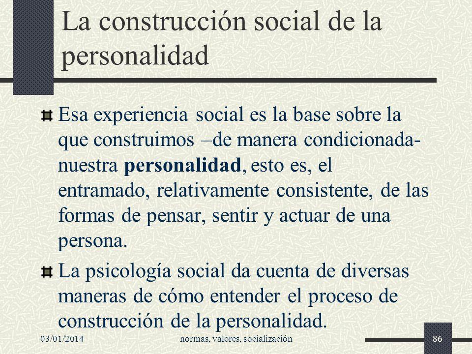 La construcción social de la personalidad