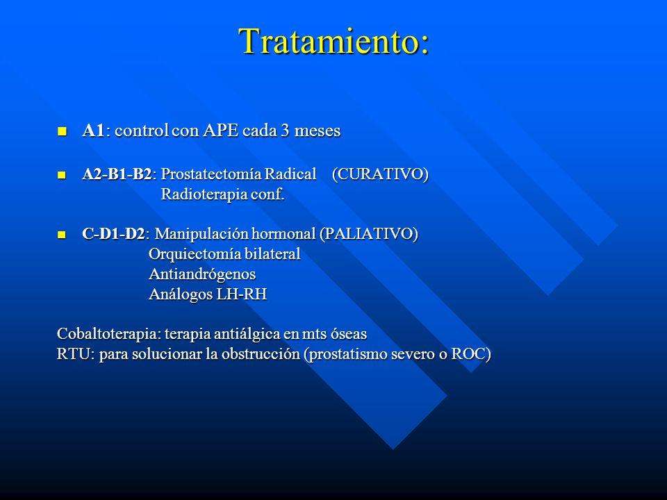 Tratamiento: A1: control con APE cada 3 meses