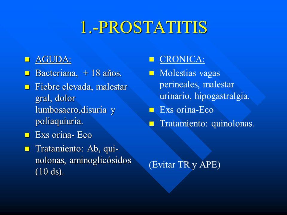1.-PROSTATITIS AGUDA: Bacteriana, + 18 años.