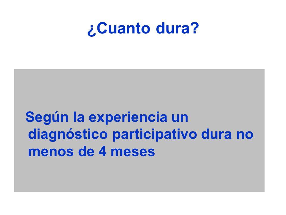 ¿Cuanto dura Según la experiencia un diagnóstico participativo dura no menos de 4 meses
