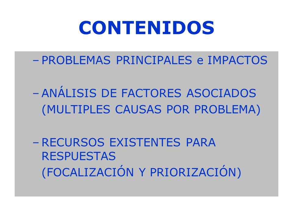 CONTENIDOS PROBLEMAS PRINCIPALES e IMPACTOS