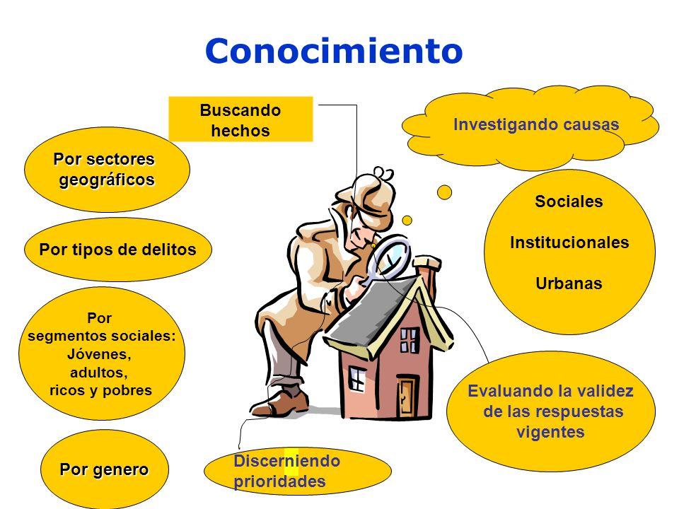 Conocimiento Buscando hechos Investigando causas Por sectores