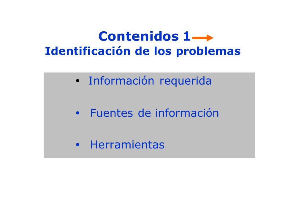 Contenidos 1 Identificación de los problemas