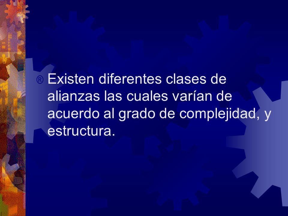 Existen diferentes clases de alianzas las cuales varían de acuerdo al grado de complejidad, y estructura.