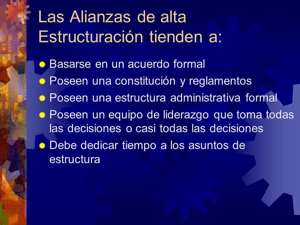 Las Alianzas de alta Estructuración tienden a: