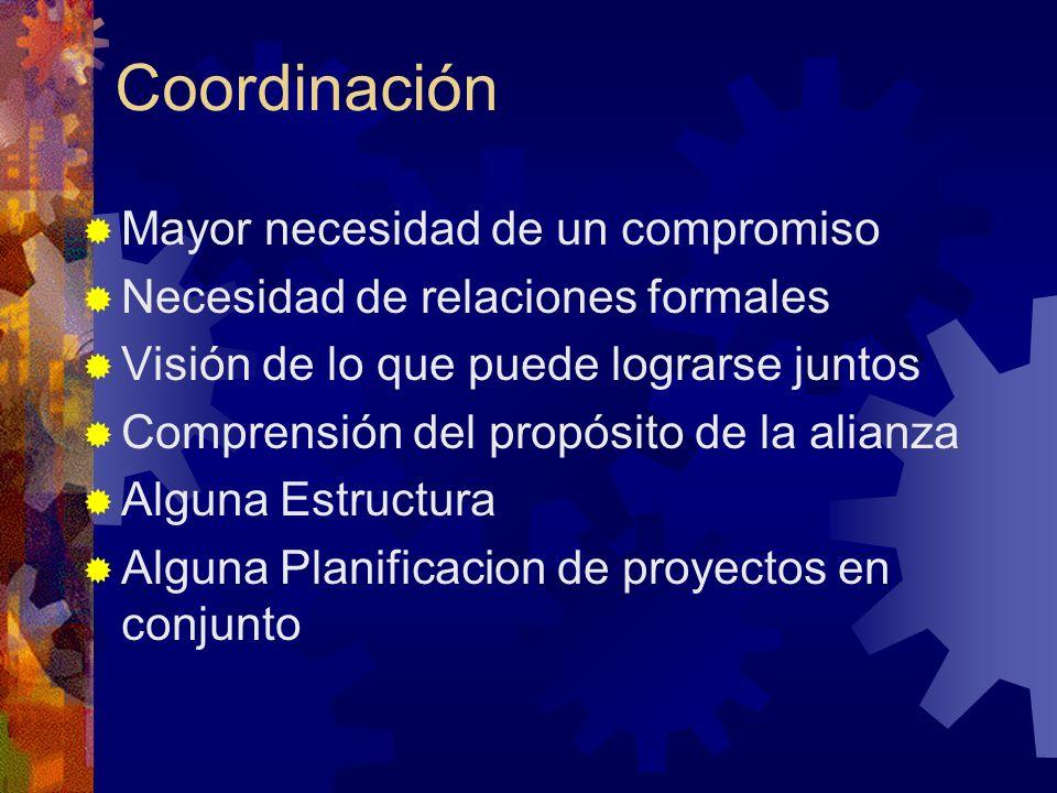 Coordinación Mayor necesidad de un compromiso