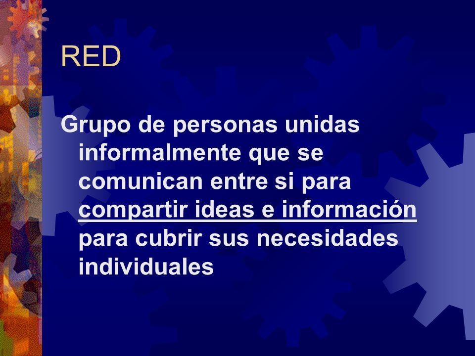 RED Grupo de personas unidas informalmente que se comunican entre si para compartir ideas e información para cubrir sus necesidades individuales.