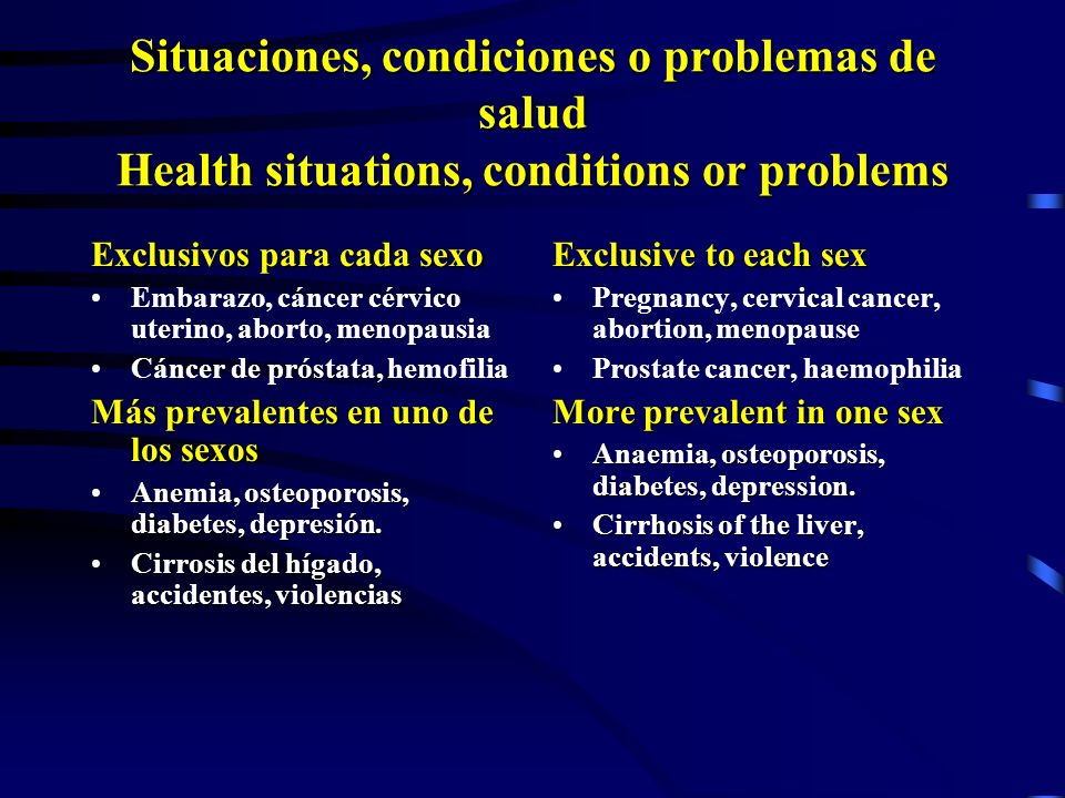 3/23/2017 Situaciones, condiciones o problemas de salud Health situations, conditions or problems. Exclusivos para cada sexo.