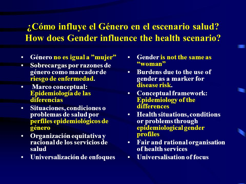 3/23/2017 ¿Cómo influye el Género en el escenario salud How does Gender influence the health scenario