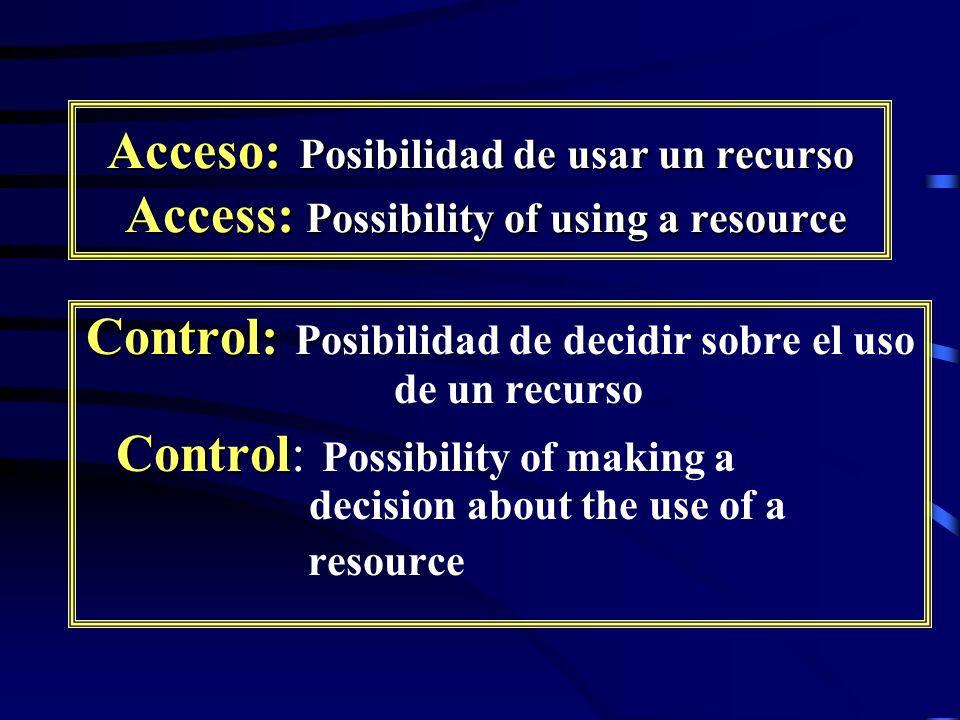 Control: Posibilidad de decidir sobre el uso de un recurso