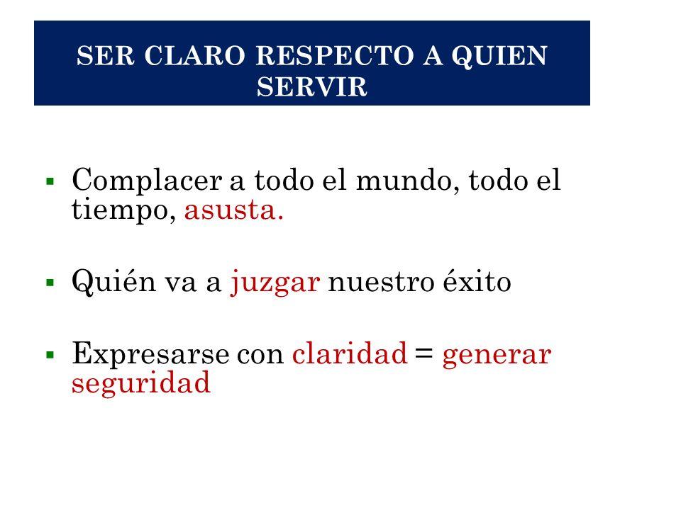 SER CLARO RESPECTO A QUIEN SERVIR