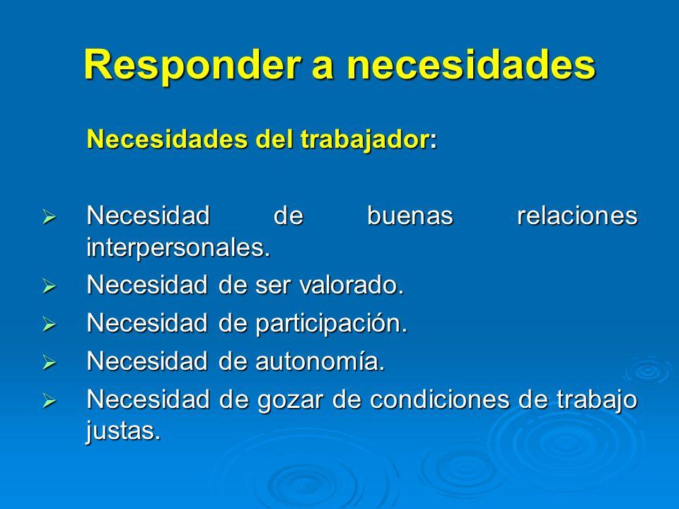 Responder a necesidades