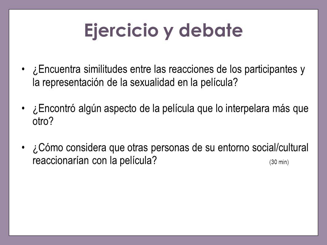 Ejercicio y debate ¿Encuentra similitudes entre las reacciones de los participantes y la representación de la sexualidad en la película