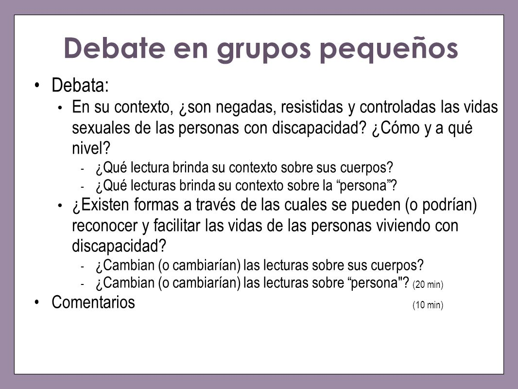 Debate en grupos pequeños