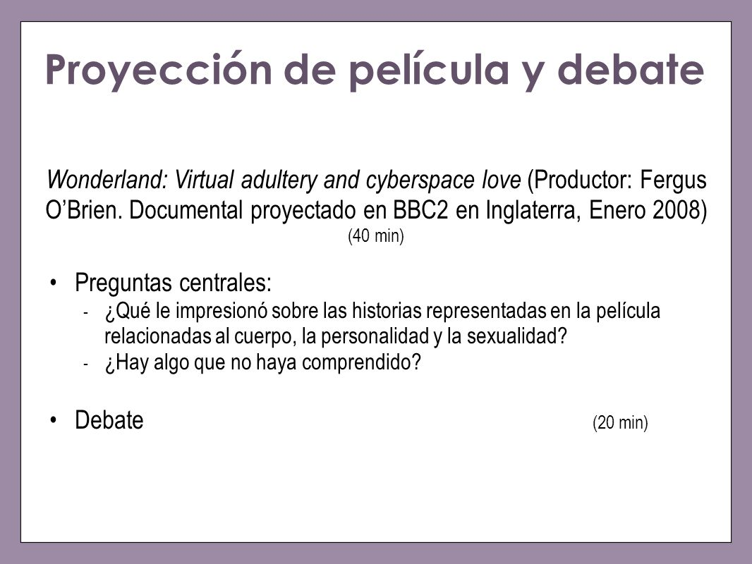 Proyección de película y debate
