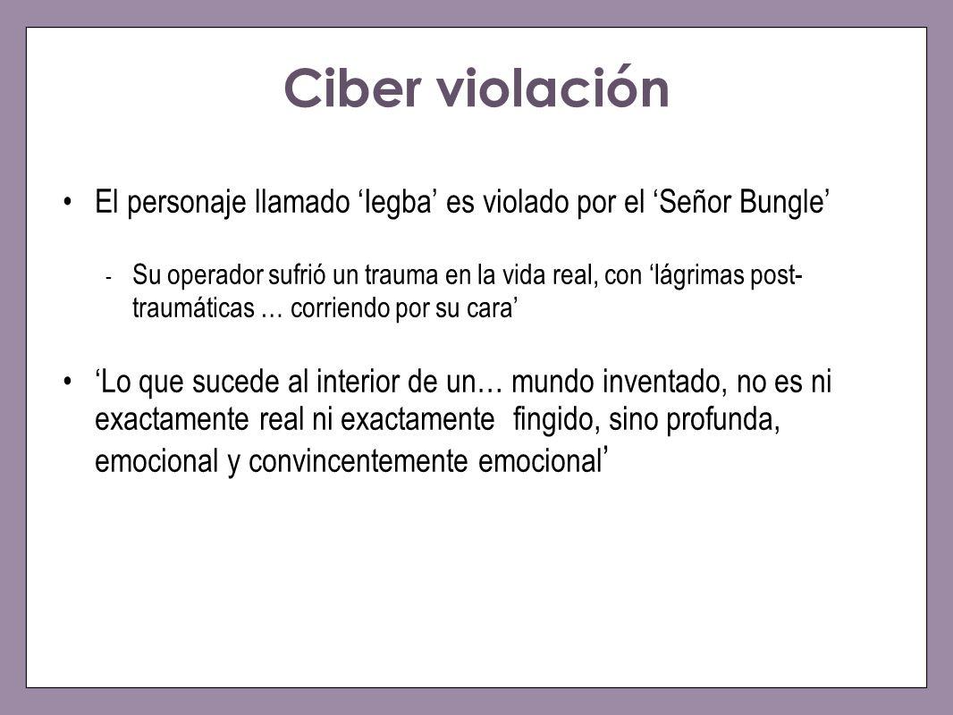 Ciber violación El personaje llamado 'Iegba' es violado por el 'Señor Bungle'