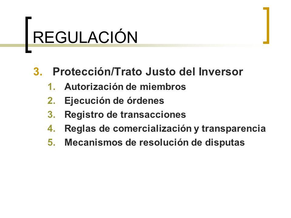 REGULACIÓN Protección/Trato Justo del Inversor