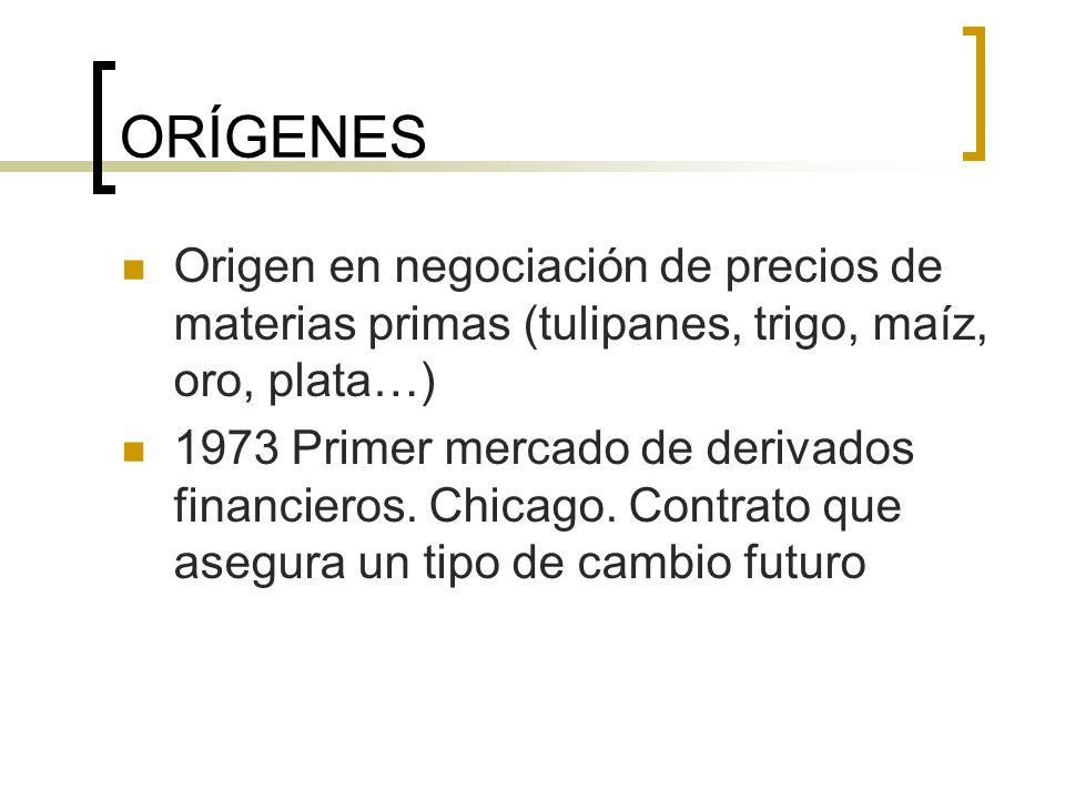 ORÍGENES Origen en negociación de precios de materias primas (tulipanes, trigo, maíz, oro, plata…)