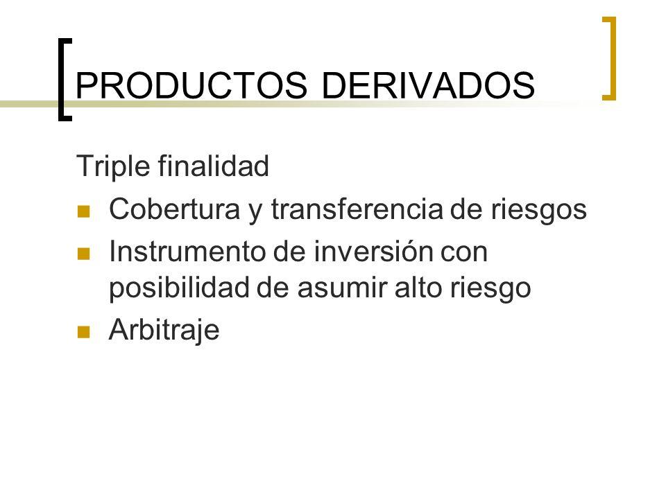 PRODUCTOS DERIVADOS Triple finalidad