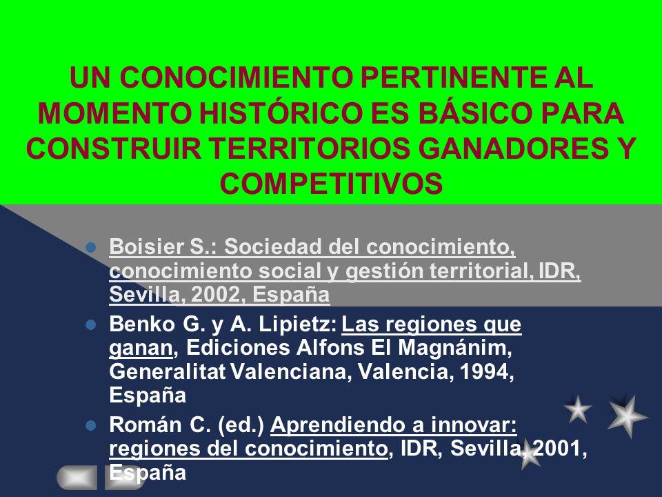 UN CONOCIMIENTO PERTINENTE AL MOMENTO HISTÓRICO ES BÁSICO PARA CONSTRUIR TERRITORIOS GANADORES Y COMPETITIVOS