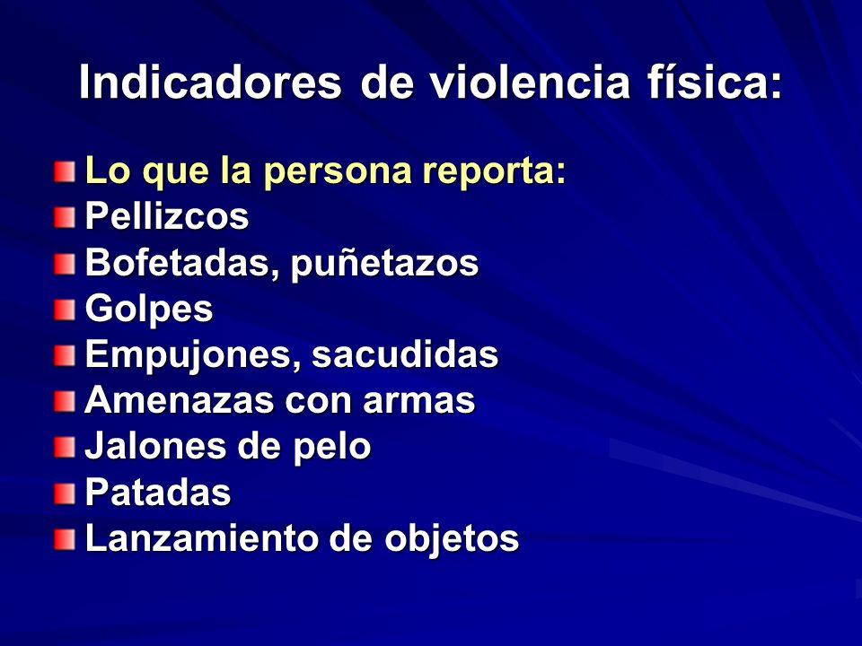 Indicadores de violencia física: