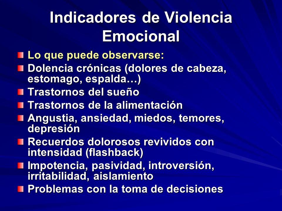 Indicadores de Violencia Emocional