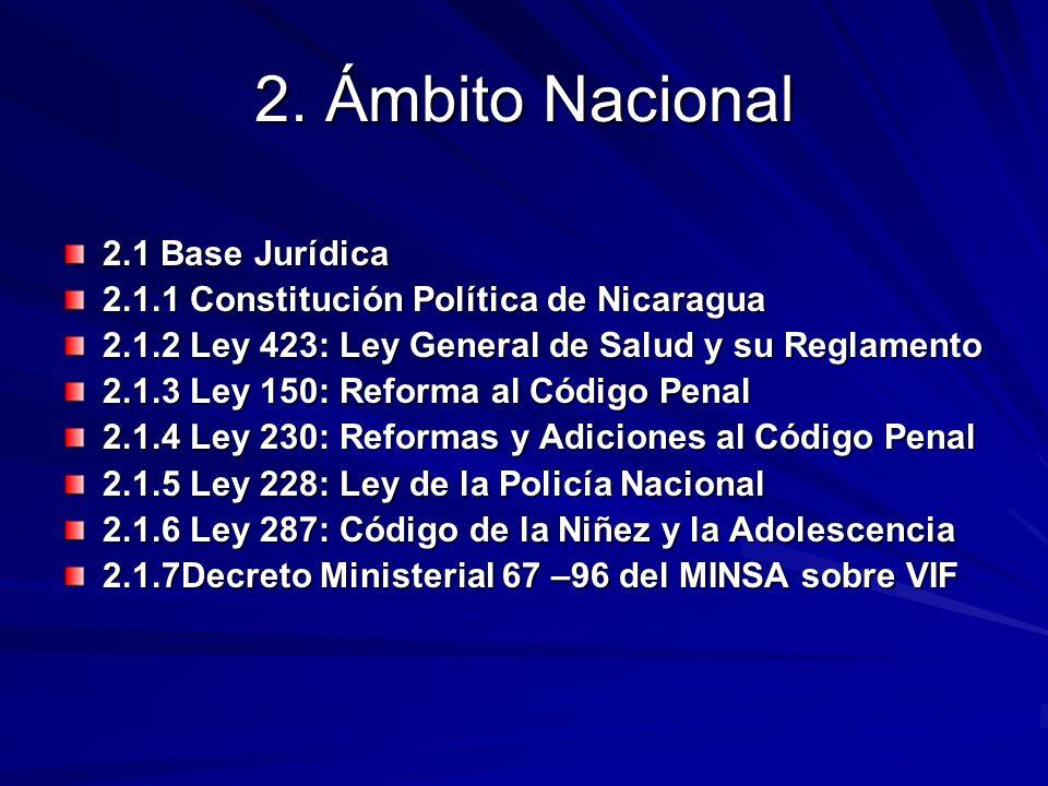 2. Ámbito Nacional 2.1 Base Jurídica