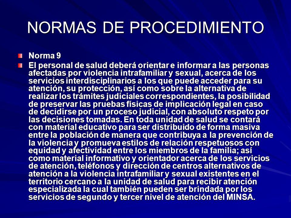 NORMAS DE PROCEDIMIENTO