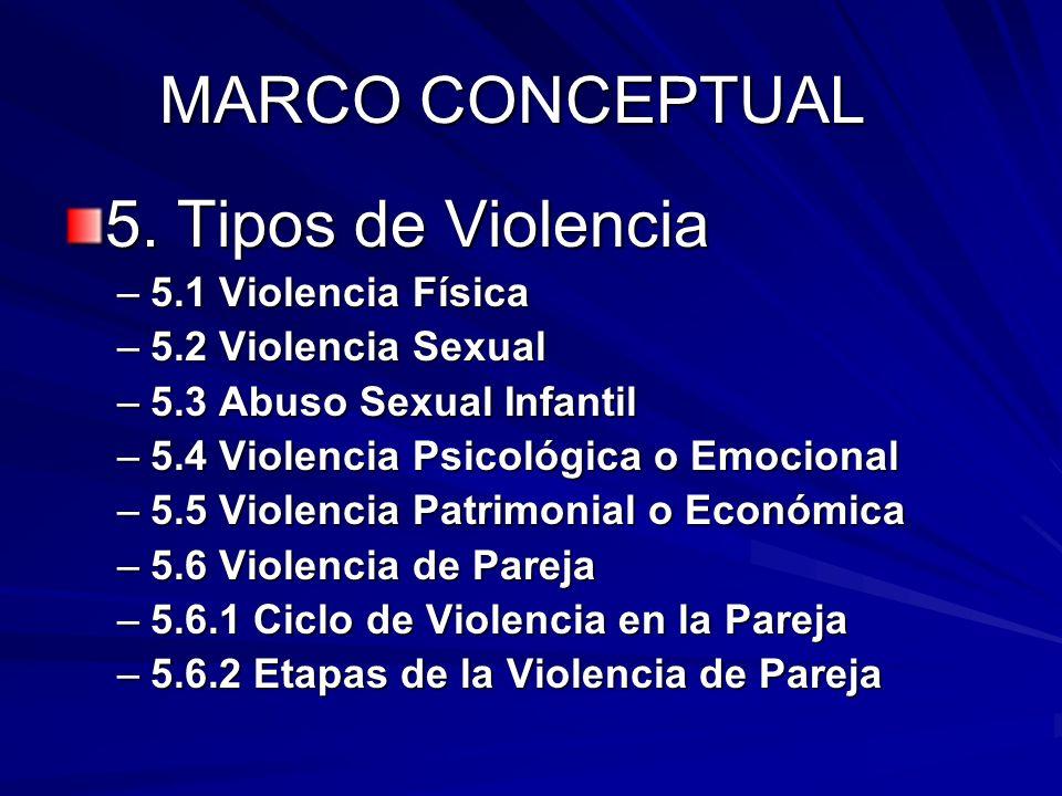 MARCO CONCEPTUAL 5. Tipos de Violencia 5.1 Violencia Física