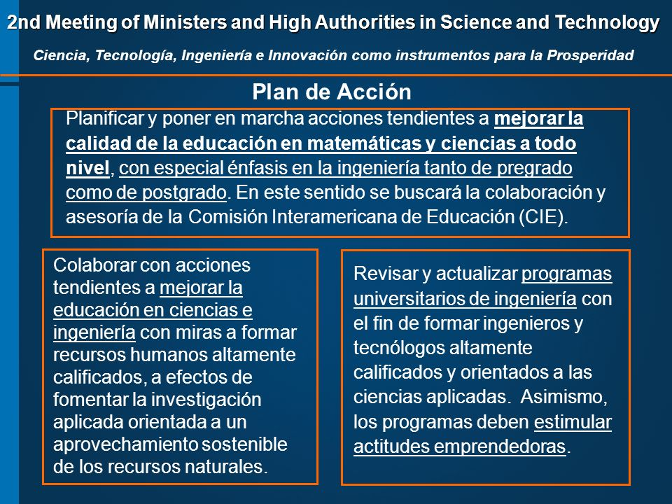 2nd Meeting of Ministers and High Authorities in Science and Technology