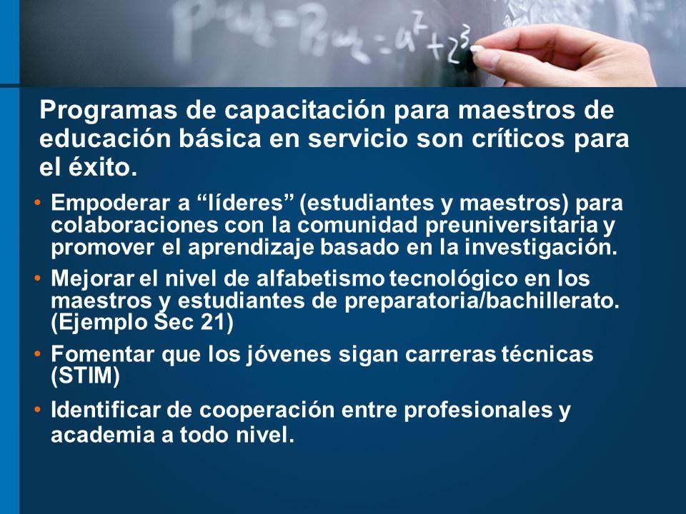 Programas de capacitación para maestros de educación básica en servicio son críticos para el éxito.