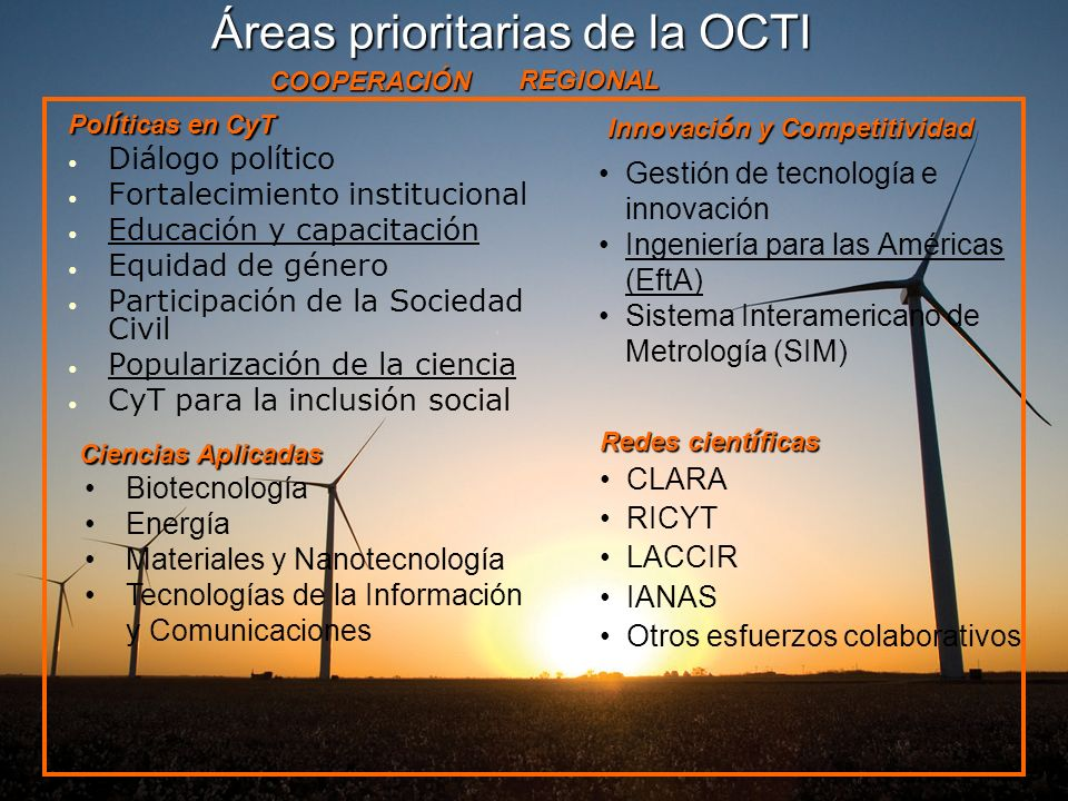 Áreas prioritarias de la OCTI