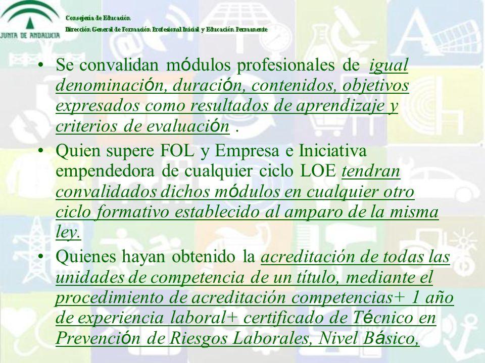 Se convalidan módulos profesionales de igual denominación, duración, contenidos, objetivos expresados como resultados de aprendizaje y criterios de evaluación .