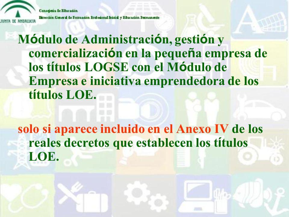 Módulo de Administración, gestión y comercialización en la pequeña empresa de los títulos LOGSE con el Módulo de Empresa e iniciativa emprendedora de los títulos LOE.