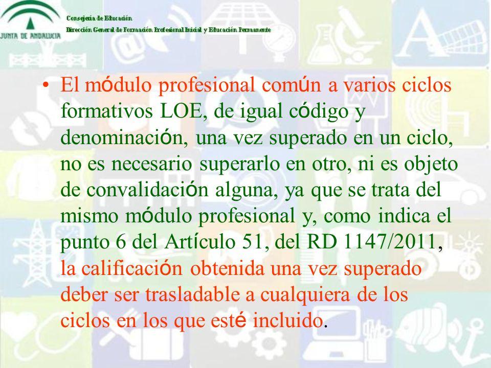 El módulo profesional común a varios ciclos formativos LOE, de igual código y denominación, una vez superado en un ciclo, no es necesario superarlo en otro, ni es objeto de convalidación alguna, ya que se trata del mismo módulo profesional y, como indica el punto 6 del Artículo 51, del RD 1147/2011, la calificación obtenida una vez superado deber ser trasladable a cualquiera de los ciclos en los que esté incluido.