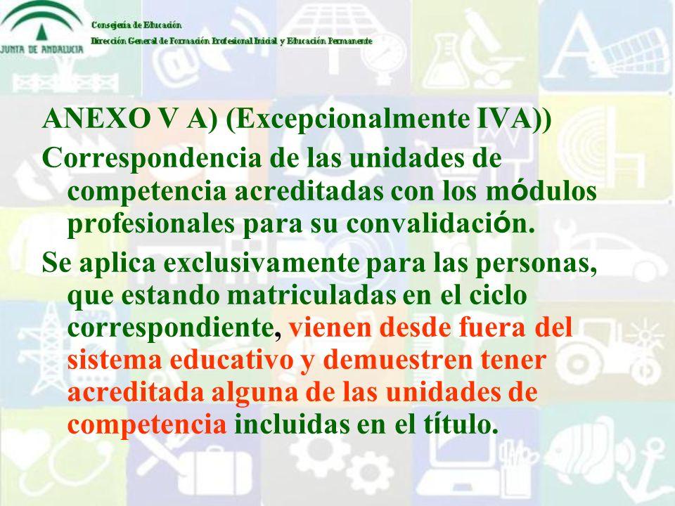 ANEXO V A) (Excepcionalmente IVA))