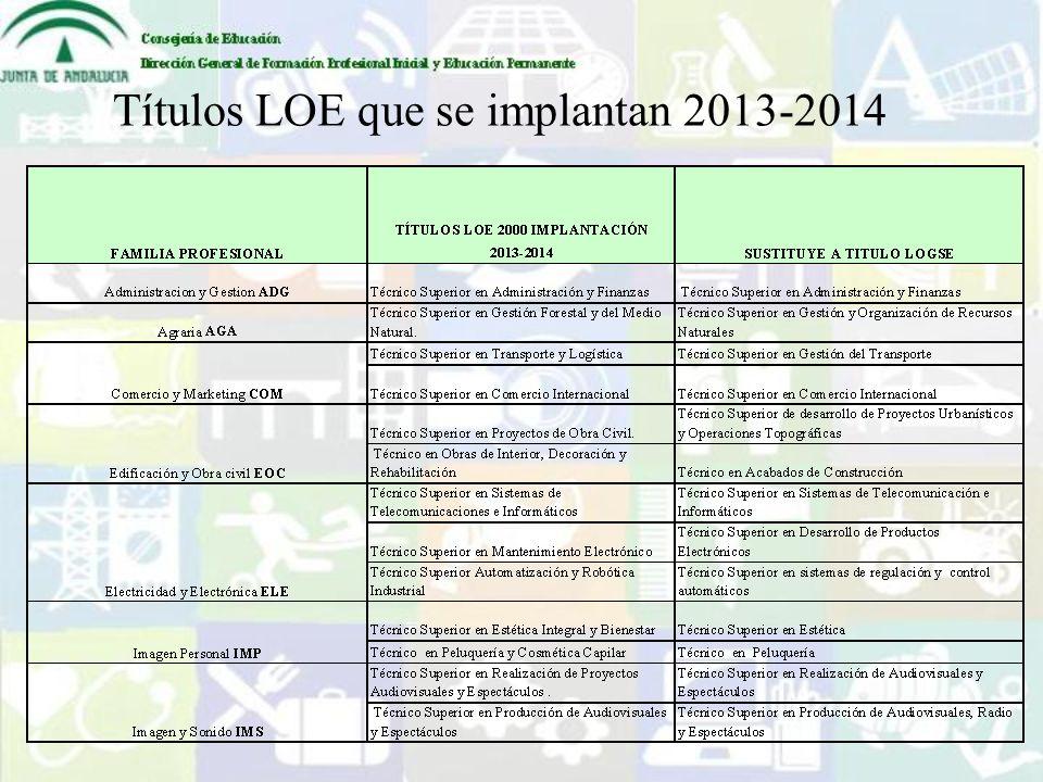 Títulos LOE que se implantan 2013-2014