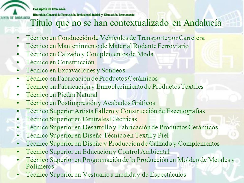 Título que no se han contextualizado en Andalucía