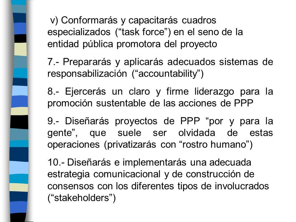v) Conformarás y capacitarás cuadros especializados ( task force ) en el seno de la entidad pública promotora del proyecto