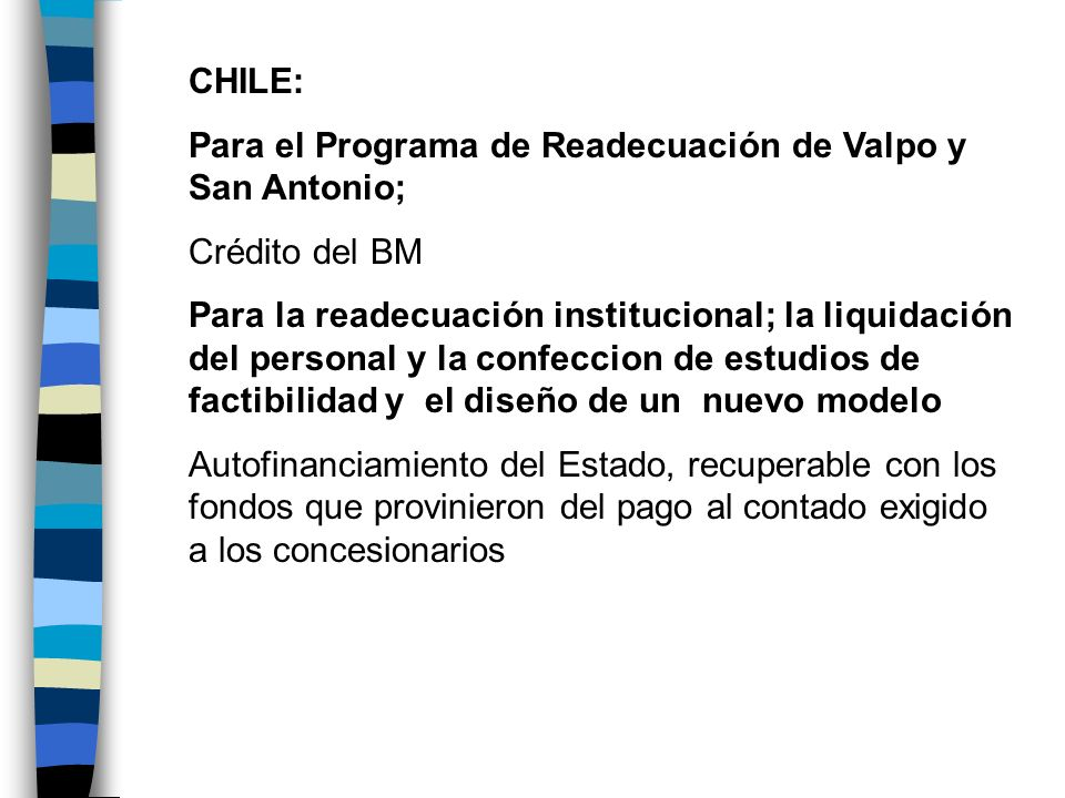 CHILE: Para el Programa de Readecuación de Valpo y San Antonio; Crédito del BM.