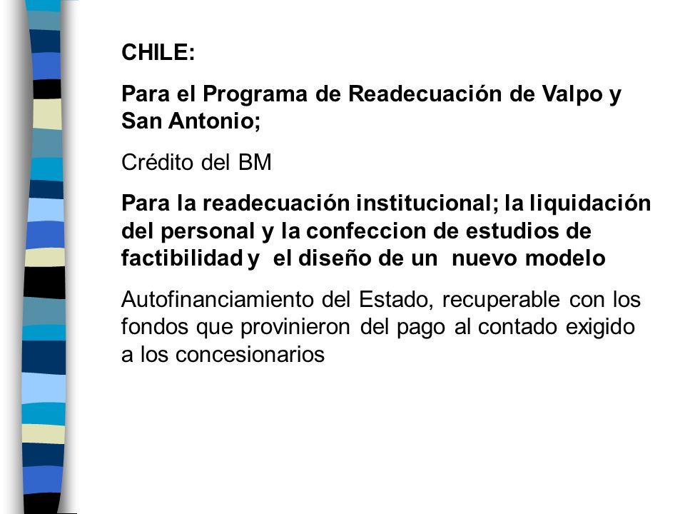 CHILE:Para el Programa de Readecuación de Valpo y San Antonio; Crédito del BM.