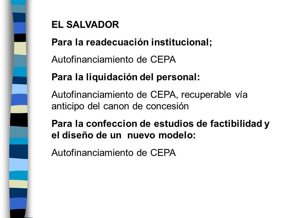 EL SALVADORPara la readecuación institucional; Autofinanciamiento de CEPA. Para la liquidación del personal: