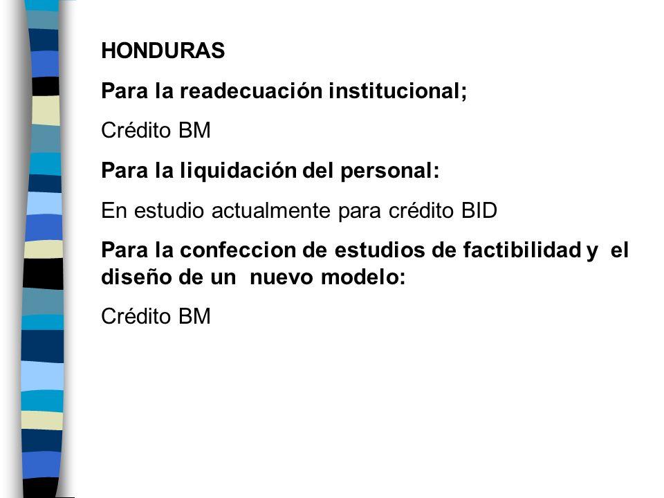 HONDURAS Para la readecuación institucional; Crédito BM. Para la liquidación del personal: En estudio actualmente para crédito BID.