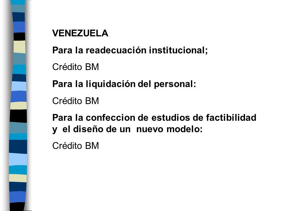 VENEZUELAPara la readecuación institucional; Crédito BM. Para la liquidación del personal: